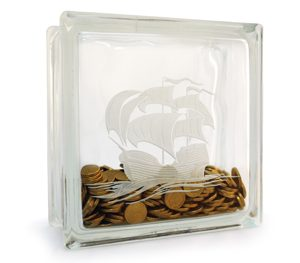 Money box glass block with etched sailing ship
