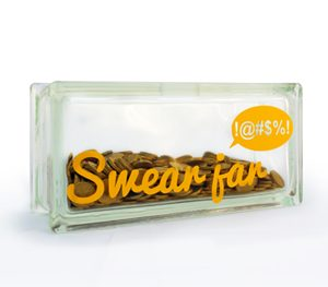 Swear jar decal on glass block money box