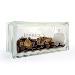 Personalised money box piggy bank glass block