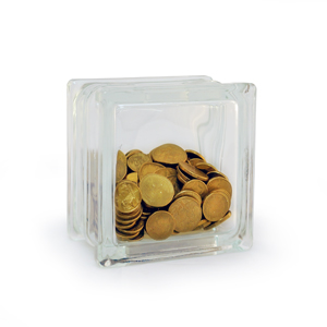 Glass block money box with coins