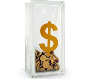 Tall glass money box with dollar sign