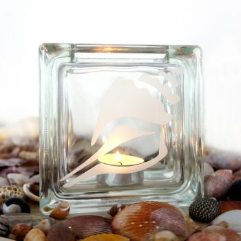 glass tea light candle holder with conch sea shell motif