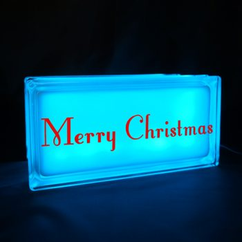 Blye glass block night light with merry christmas decal