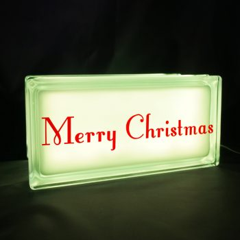 Glass block night light with merry christmas decal