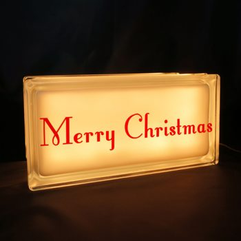 Merry Christmas decal on glass block night light