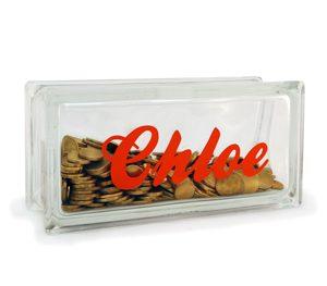 Personalised glass money box glass block