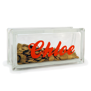 Personalised glass money box glass block