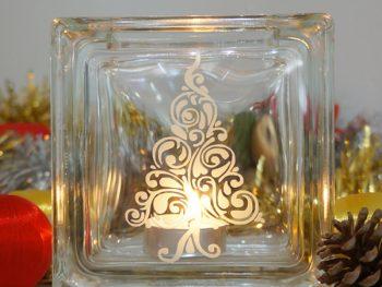 Christmas tree glass candle holder