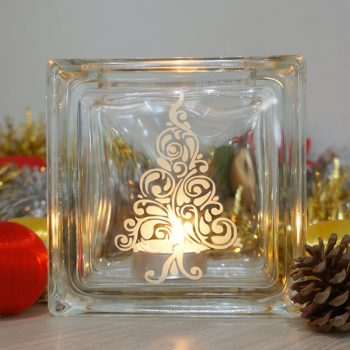 Christmas tree glass candle holder