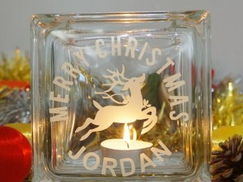 Personalised christmas reindeer candle holder