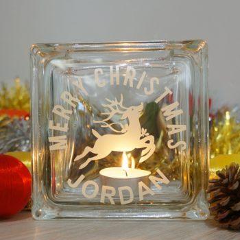 Personalised christmas reindeer candle holder