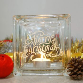 Merry christmas glass candle holder