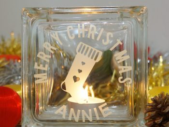Personalised christmas stocking candle holder