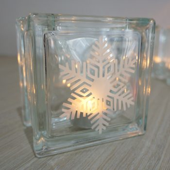 snowflake glass christmas candle holder