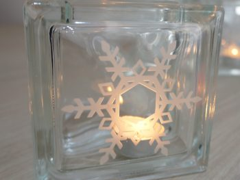 Glass snowflake candle holder