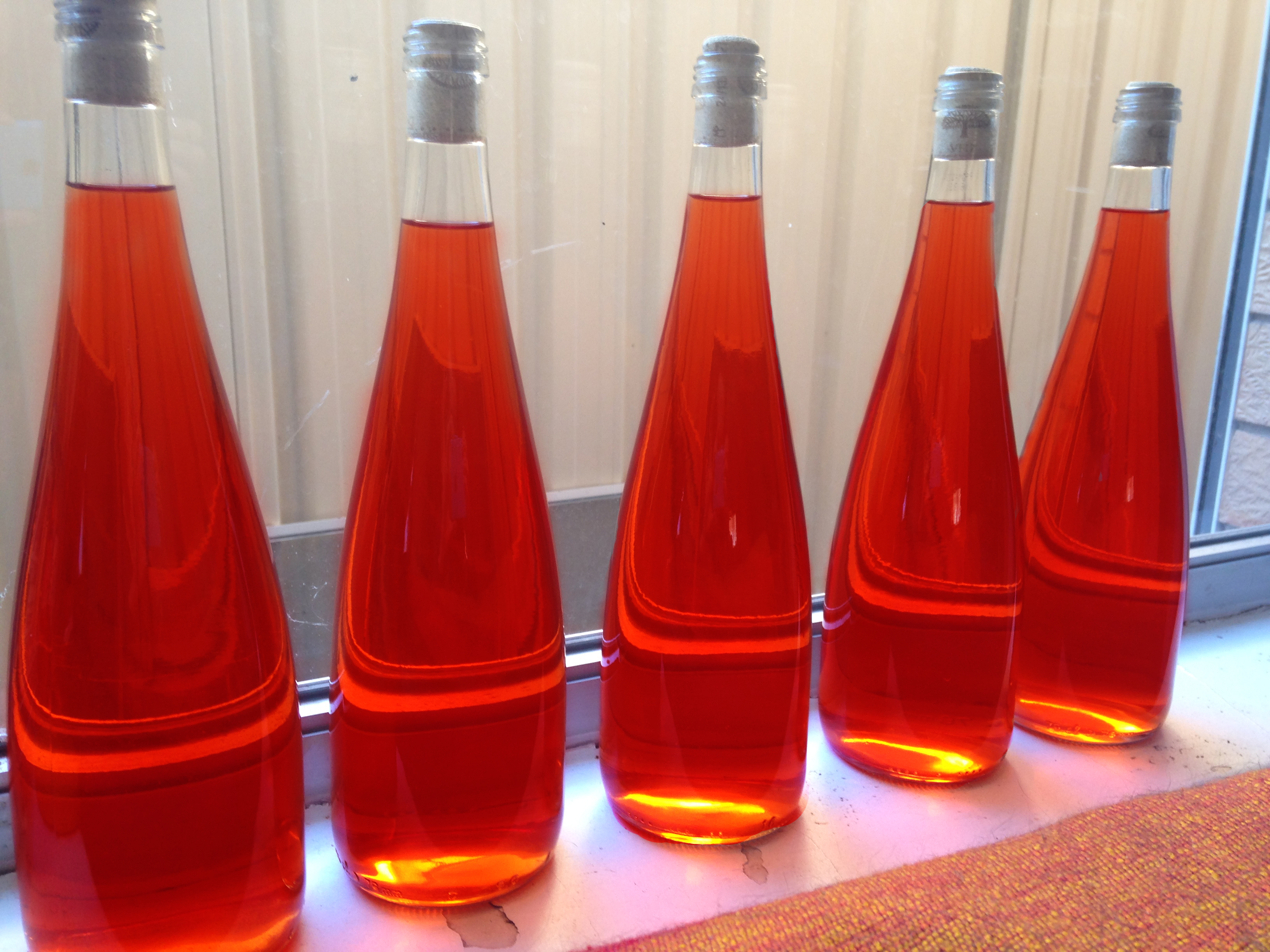 Bottles of strawberry wine