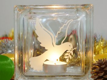 Christmas dove glass candle holder