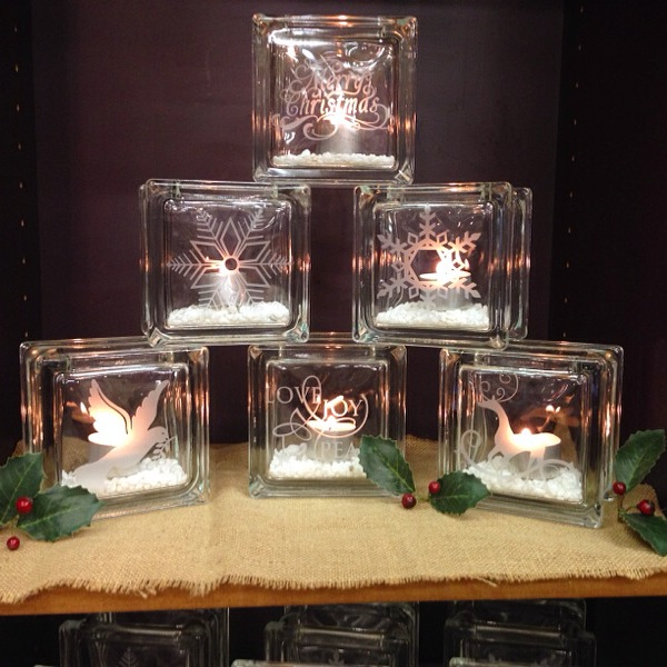 pyramid stack of glass christmas theme candle holders