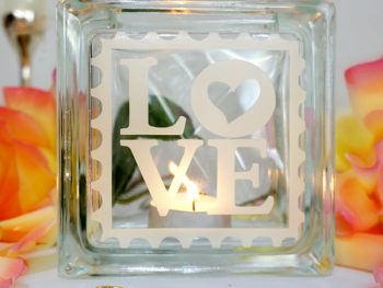 LOVE tea light candle holder