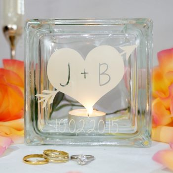 Personalised heart and arrow wedding candle holder