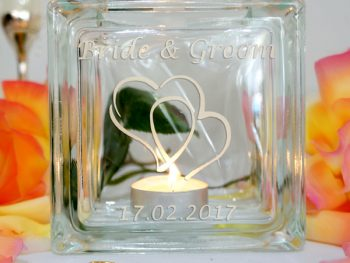 Personalised wedding candle holder hearts